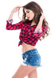 Profile of seductive relaxed young woman shorts Stock Image