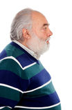 Profile of senior man with beard. Isolated on a white background Stock Photo