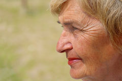 Profile of a senior woman. In a park Royalty Free Stock Photos
