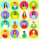 Profile set icon avatar mix race ethnic. Man and woman portrait casual person colorful silhouette face flat design vector Royalty Free Stock Photos