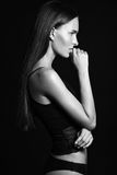 Profile of sexy with pretty long hair Royalty Free Stock Photos
