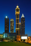 A profile of Sheikh Zayed Road in Dubai, UAE at dusk Stock Photos