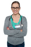 Profile shot of a confident casual female doctor stock photo