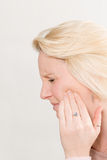 Profile Shot of Lady with Toothache in Pain Copy Space Royalty Free Stock Photos