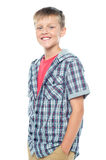 Profile shot of smart young boy posing casually Stock Photo