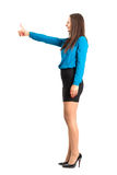 Profile side view of business woman with thumbs up gesture. Royalty Free Stock Photos