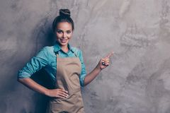 Profile side view photo of charming stylish woman points finger stock images