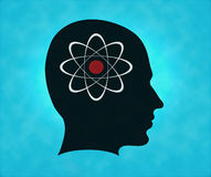 Profile of silhouette with atom symbol Stock Image
