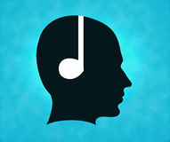 Profile of silhouette with headphone symbol Royalty Free Stock Image