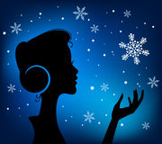 Profile Silhouette of Pretty Young Girl Royalty Free Stock Photos