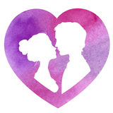 Profile silhouettes of man and woman, watercolor Stock Photo