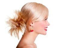 Profile of smiley model Stock Photo