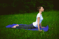 Profile of smiling beautiful young woman working out on blue mat in park alley, doing stretching exercises. Urdhva mukha shvanasana (upward facing dog pose), sun stock image