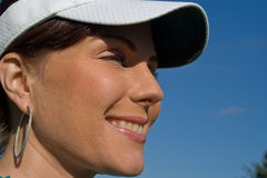 Profile of Smiling Female Golfer - Horizontal Stock Photo