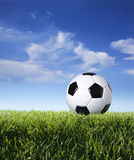 Profile of soccer ball in grass against blue sky. Low angle view of soccer ball in grass against blue sky and clouds Royalty Free Stock Image