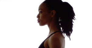 Profile of strong black woman. Looking away royalty free stock images