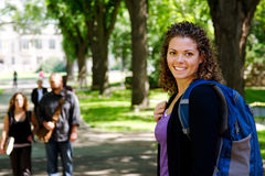 Profile of student with back pack. Profile of University student with back pack royalty free stock photo