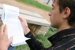 Profile student reading Stock Photo