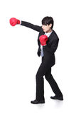 Profile of successful businessman punching Royalty Free Stock Photos
