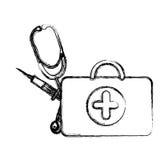 Profile suitcase health with stethoscope and syringe Stock Photos