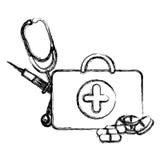 Profile suitcase health with stethoscope, syringe and treatment. Illustraction Stock Photography