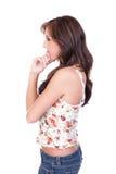 Profile of a teenage girl thinking Stock Photo