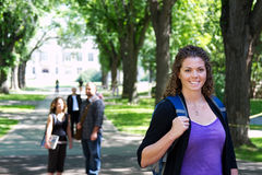 Profile of University student. On campus royalty free stock photo