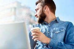 Having Coffee Break Outdoors royalty free stock images