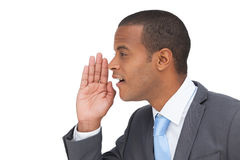 Profile view of a businessman calling for someone Royalty Free Stock Image