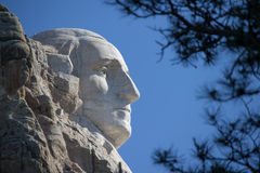A profile view of George Washington`s face on Mount Rushmore in South Dakota. Royalty Free Stock Image