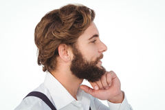 Profile view of hipster smiling Royalty Free Stock Photography