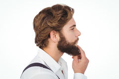 Profile view of hipster touching beard Stock Photography