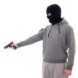 Profile view of man in black mask aiming with gun isolated on wh Royalty Free Stock Photos