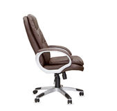 The profile view of office chair from brown leather. Stock Image