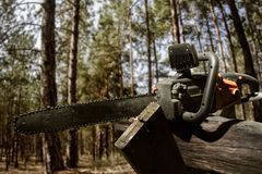 Orange chainsaw tool profile view. Profile view photo of a chainsaw laying on a wood log on forest background Stock Image