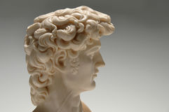 Profile View of Replica. Replica of marble statue of David in profile over a neutral background Royalty Free Stock Photos