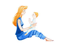 Profile view of smiling young mother sitting on floor with a son on lap hand-drawn with watercolor stock illustration