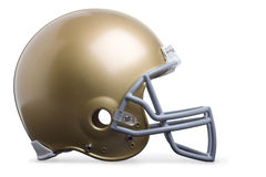 Profile view gold football helmet isolated on white Stock Images