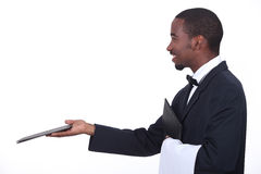 Profile of a waiter Stock Images