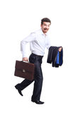 Profile of walking with case businessman Royalty Free Stock Image