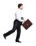 Profile of walking with case businessman Stock Images