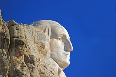 Presidents at Mount Rushmore South Dakota. Profile of Washington at Mount Rushmore on a clear sunny day with blue skies stock image