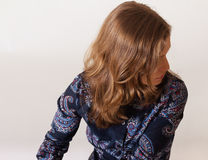 Profile of woman with beautiful hair Stock Photo