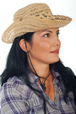 Profile of woman with cowboy hat Royalty Free Stock Photos