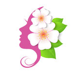 The profile of woman with flowers Royalty Free Stock Photography