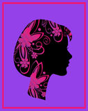 Profile of a woman. With flowers - Stock illustration royalty free illustration