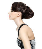 Profile of woman with hairstyle Royalty Free Stock Photo
