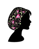 Profile of woman. Heart silhouette design illustration vector illustration