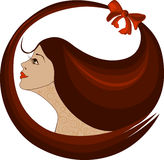 Profile of a woman logo Royalty Free Stock Photo