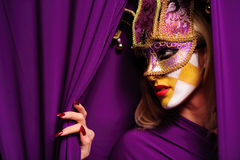 Profile of woman in mask. Profile of young pretty blond woman in mask, may be use for Venice concept Royalty Free Stock Photo